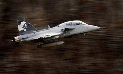Swedish Gripen during Swiss Air Force flight demonstration over the Bernese Oberland/AFP