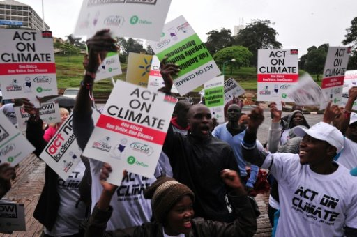 Kenyans call for climate justice at a demonstration on November 14, 2015, in Nairobi, as droughts and food-price increases illustrate the costs of climate change across Africa  AFP/File