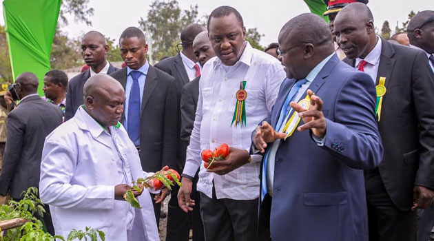 """""""As we strive to achieve food and nutrition self-sufficiency, both levels of government must continue to work together,"""" President Kenyatta said/PSCU"""