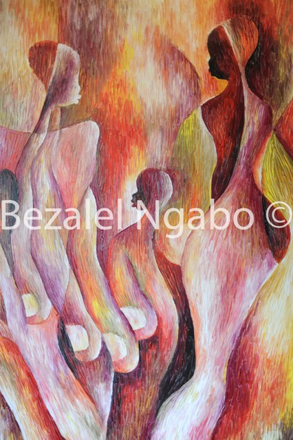 Congolese painter Bezalel Ngabo at Osteria Art Gallery photographed by Susan Wong 2012