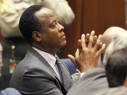 "Dr. Conrad Murray sits in court after he was convicted of involuntary manslaughter in Michael Jackson's death and sentenced to four years in jail in Los Angeles,CA on November 29, 2011. Murray has sent a consoling message to the late pop icon's daughter Paris after she tried to commit suicide, saying he loved her like a ""precious father."""