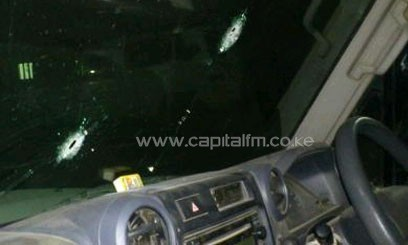 KRCS vehicle showing bullet holes after it was attacked in Dadaab/KRCS