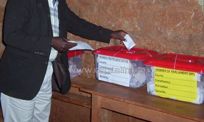 A voter casts their ballot during the just-concluded nominations/CFM