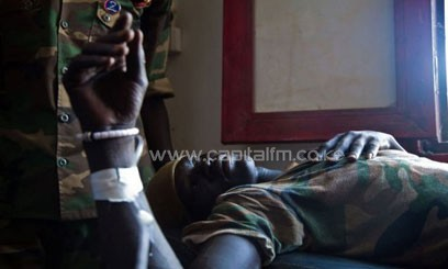 A wounded Sudanese soldier/FILE