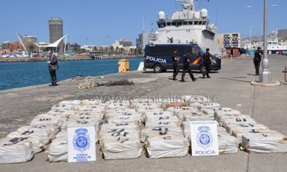 Bales of cocaine sit on a dock after been seized by the Spanish police at Cape Verde/AFP