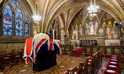 Thatcher's coffin rests in the Crypt Chapel of St Mary Undercroft. Photo/AFP