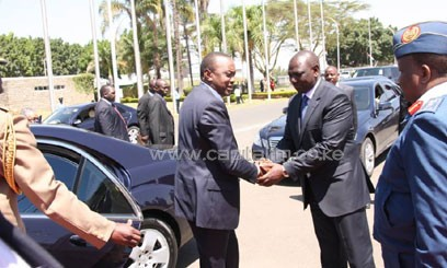 Uhuru is seen off at the JKIA by Deputy President Ruto as he left for Addis Ababa/PPS