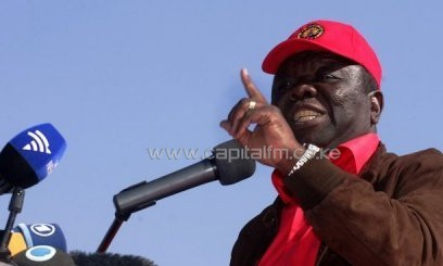 PM and leader of the Movement for Democratic Change, Morgan Tsvangirai, at a campaign rally in Harare, July 29, 2013/AFP