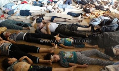 Bodies laying on the ground as Syrian rebels claim they were killed in a toxic gas attack/AFP