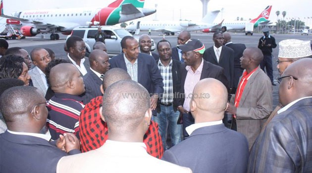 Ruto is received by leaders including Adan Duale at JKIA/DPPS