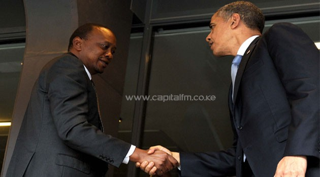 President Kenyatta and Obama met at the FNB Stadium during the memorial service for Nelson Mandela. Photo/ PSCU
