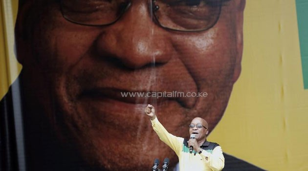 Zuma gives a speech on January 11, 2014 at the Mbombela Stadium in Nelspruit during the launch of the ruling ANC party's election manifesto/AFP