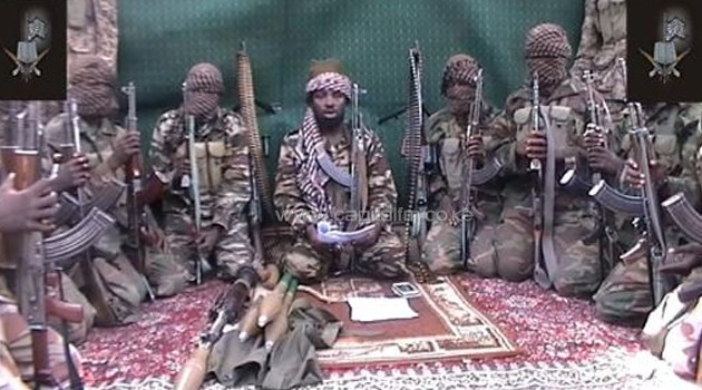 Boko Haram members with their leader/FILE