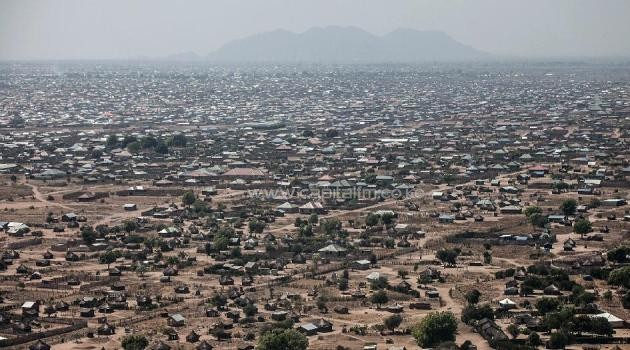 This aerial view taken on January 10, 2014 shows central Juba, South Sudan/AFP