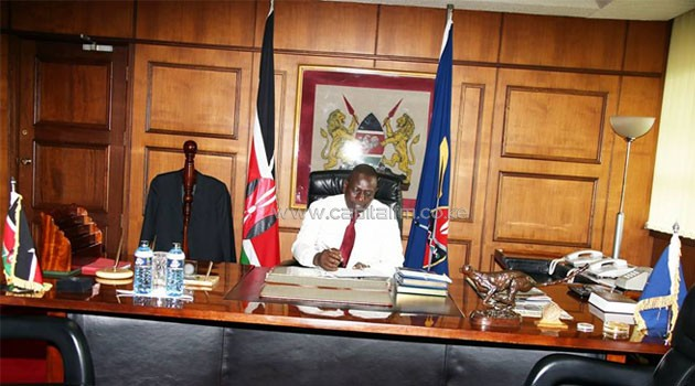 Acting President William Ruto in his Office at Harambee House/COURTESY
