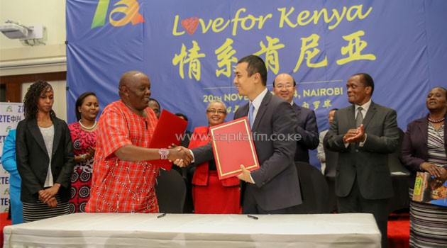 irst Lady Margaret Kenyatta witnesses the exchange of a cooperation agreement between CEO of Huawei Technologies (Kenya) Mr. Yu Dingpeng and the Director of Shade of Hope Mr. Fred Kiragu at the Launch of the 'Love for Kenya: China-Africa People-to-people Friendship Action' at a hotel in Nairobi. Also present are (from left) Sen. Naisula Lesuuda, Chinese Ambassador to Kenya Amb. Liu Xianfa and Hon. Maj. (Rtd.) Marsden Madoka and M.P. Maison Leshomo/PSCU