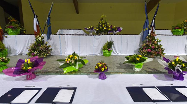 Condolence books are seen on March 24, 2015 in a sports hall in the southeastern French town of Seyne, near the site where a German Airbus A320 of the low-cost carrier Germanwings crashed, killing all 150 people on board/AFP