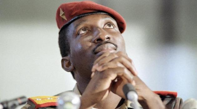 Captain Thomas Sankara, then President of Burkina Faso, sits during a press conference in Harare, Zimbabwe, on September 2, 1986/AFP