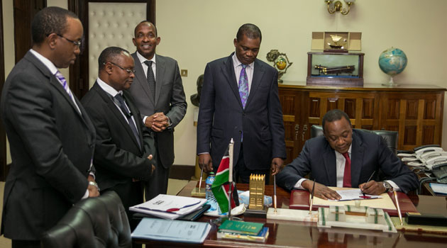 The Bills were presented for the President's signature by the Speaker of the National Assembly Justin Muturi and the Clerk of the National Assembly Justin Bundi/FILE