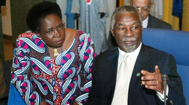 Media reports said then South African president Thabo Mbeki (R) and foreign minister Nkosazana Dlamini-Zuma (L) approved a $10-million payment US investigators suspect was a bribe to get the 2010 World Cup/AFP