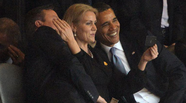 Denmark's Prime Minister Helle Thorning Schmidt (centre) famously took a selfie with US President Barack Obama and British Prime Minister David Cameron during a 2013 memorial service for Nelson Mandela in Johannesburg/AFP