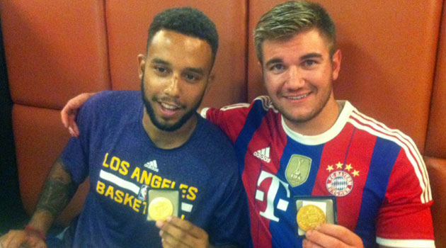 Alek Skarlatos (right) and Anthony Sadler hold medals they were given for helping to halt the attack/AFP