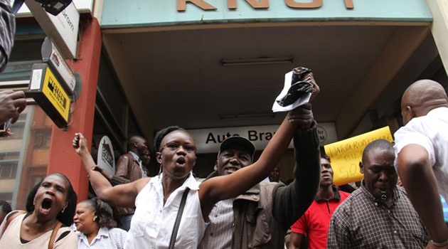 Kenya National Union of Teachers (KNUT) Secretary General Wilson Sossion urged teachers to ignore the threats and instead gather at their branch headquarters as countrywide demonstrations take place/MIKE KARIUKI