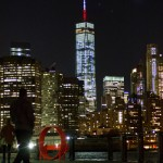New York lights World Trade Center red, white and blue