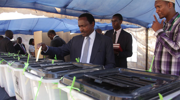 CORD leader Kalonzo Musyoka votes during the  LSK elections/MIKE KARIUKI