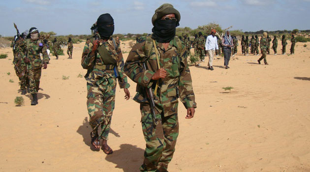 Somali Al-Shabaab fighters are seen gathering in Elasha Biyaha/AFP