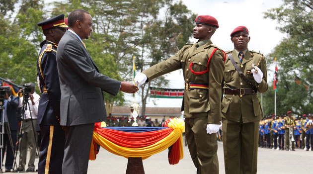 President Kenyatta at a previous GSU Passing Out parade. Photo/ FILE