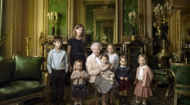Queen Elizabeth II posing with her two grandchildren and five great-grandchildren. This picture is one of three official photographs released by Buckingham Palace to mark Queen Elizabeth II's 90th birthday/AFP