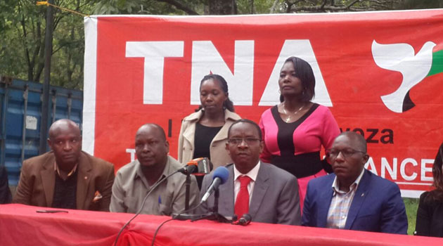 TNA Secretary General Onyango Oloo at a press conference condemned CORD's demonstrations saying they will not offer any solution but lead to disruptions and destruction/FILE