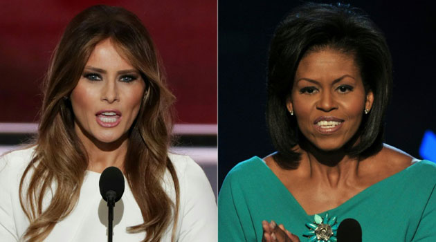 Melania Trump (left), wife of presumptive Republican presidential candidate Donald Trump, and Michelle Obama/AFP