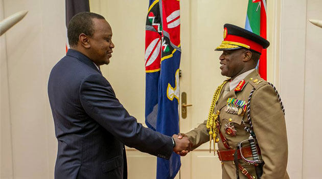 President Kenyatta congratulated Lt. General Kibochi on his appointment as the new Kenya Army Commander/PSCU