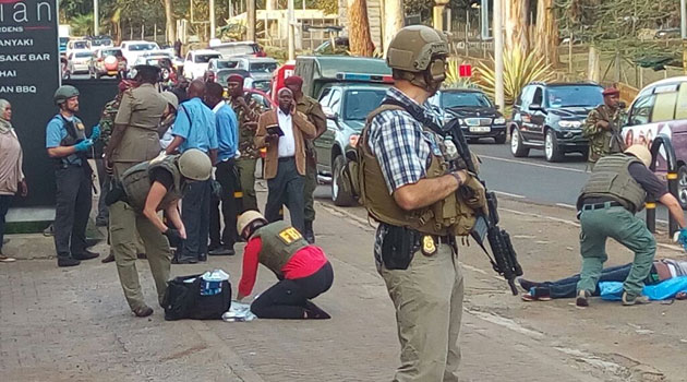 US Marines outside Nairobi Embassy after shooting incident/MOSES MUOKI