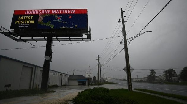 Hurricane Matthew has been downgraded to a Category Three storm by the National Hurricane Center, as its wind speed dropped slightly ©Jewel Samad (AFP)