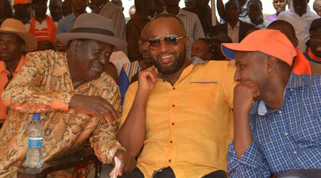 Mombasa Governor Ali Hassan Joho with his Party Leader Raila Odinga in Homa Bay on Sunday/COURTESY