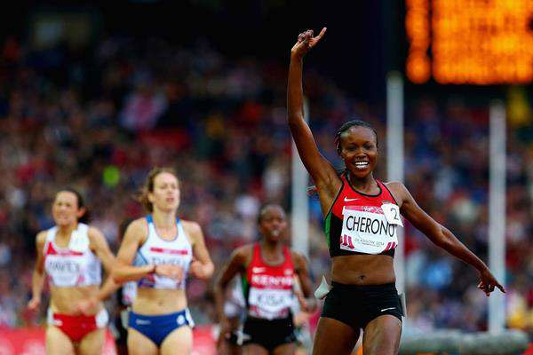 Mercy Cherono celebrates winning 5000m Commonwealth Games gold in Glasgow, Scotland.