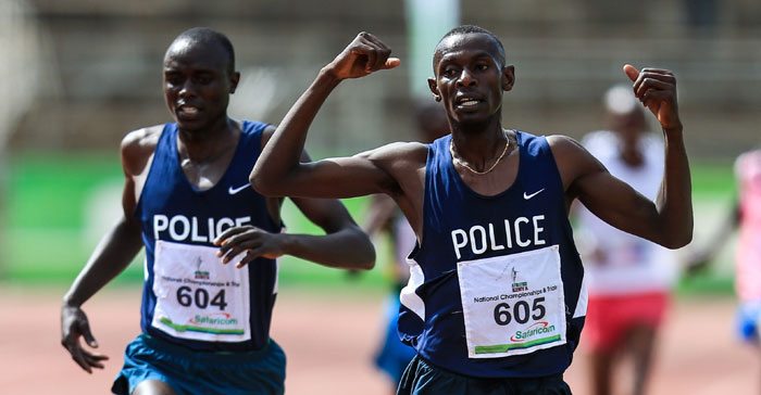 Caleb Mwangangi beats Isaiah Kiplangat at the Commonwealth Trials last year. PHOTO/File