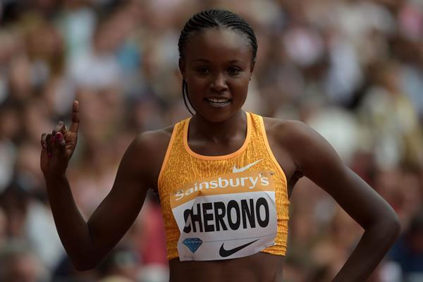 Mercy Cherono after women 5000m victory in London. PHOTO/IAAF