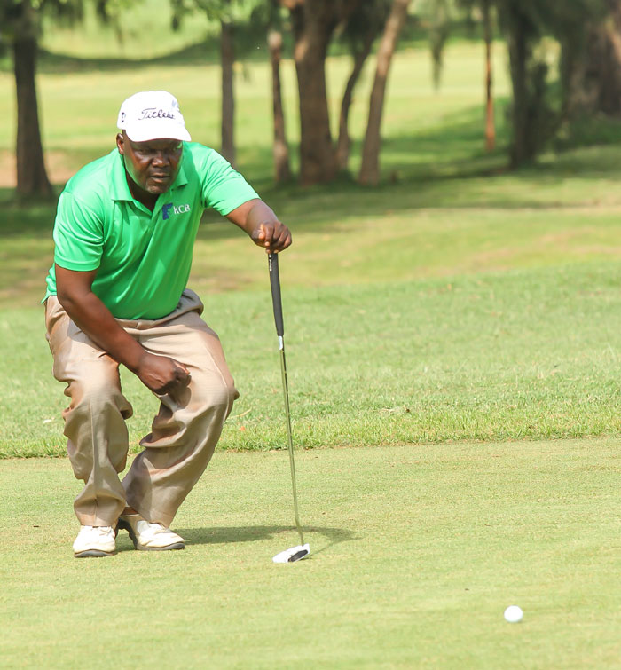 Series leader Dismas Indiza lines up a putt during the last KCB Pro-Am Golf round. PHOTO/Courtesy