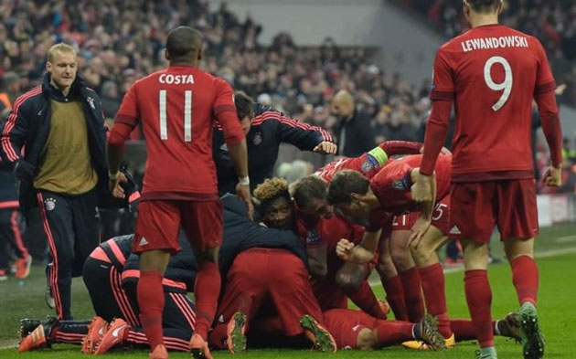 Bayern Munich players celebrating after beating Juventus to qualify to the Champions League quarter finals