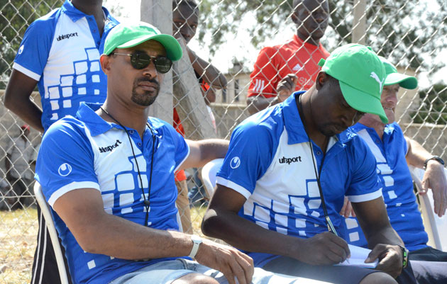 Gor Mahia head coach Jose Marcelo (left) with assistant coach Tom Ogweno (right) during yesterday's friendly against Posta Rangers.PHOTO/Timothy Olobulu.
