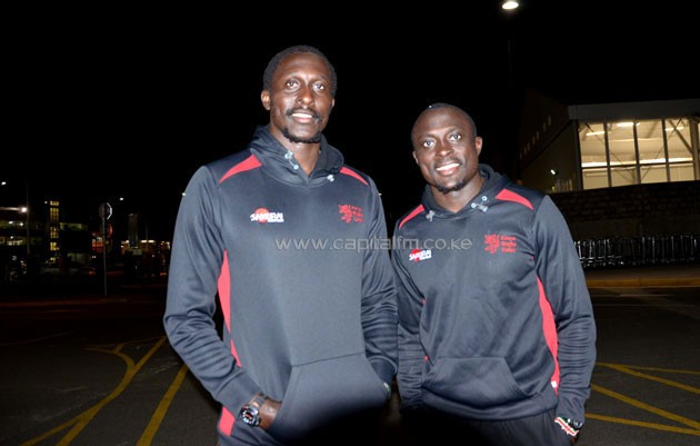 Siblings veteran Humphrey Kayange (left) and his younger brother Collins Injera (right) when the team arrived Monday night .