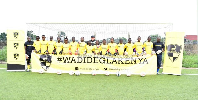 Young goalkeepers during the Wadi Degla scouting event held at Nairobi's Camp Toyoyo Grounds on Saturday.