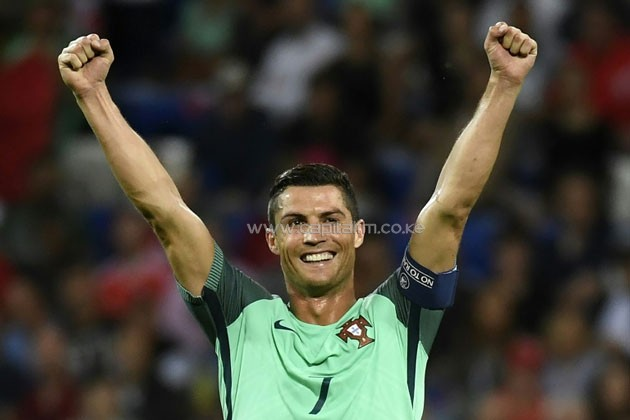 Portugal forward Cristiano Ronaldo reacts as Portugal clinches the match 2-0 against Wales in the Euro 2016 semi-finals on July 6, 2016.PHOTO/AFP