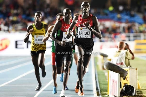 Willy Tarbei leading the boys' 800m final at the IAAF World Youth Championships, Cali 2015.PHOTO/IAAF