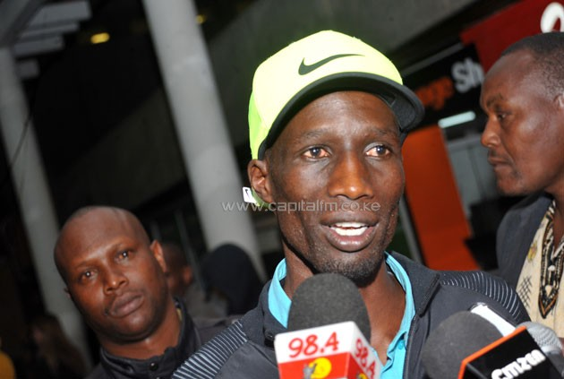 Team Kenya Captain and Cherangany Member of Parliament Wesley Korir addresses the  media after arriving from Rio. PHOTO/RAYMOND MAKHAYA