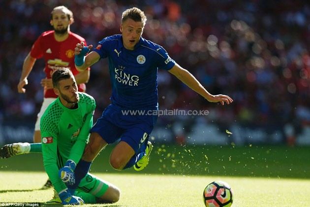 Jamie Vardy levelled things up for the Premier League champions after taking the ball around David de Gea.